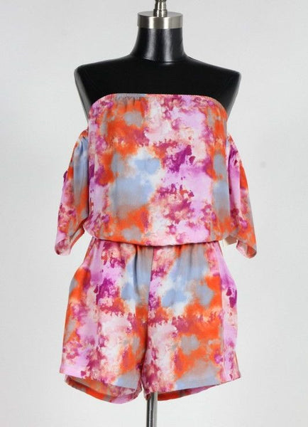 Multi Color Tie Dye Romper with Pockets