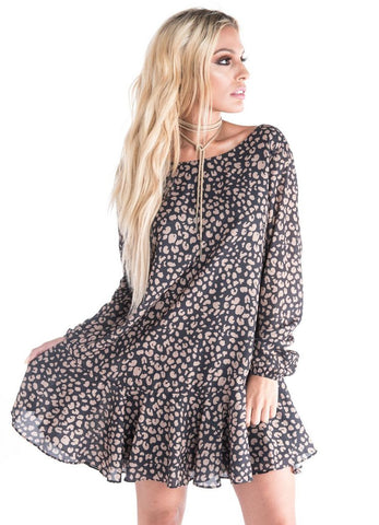 """Chyna"" Cougar Print Long Sleeve Ruffle Bottom Dress"