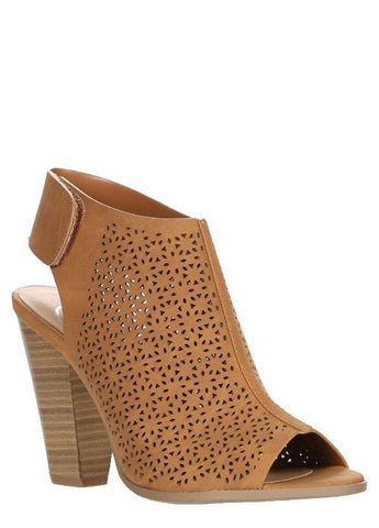 """Lania"" Peep-Toe Laser Cut Sling Backs in Tan"