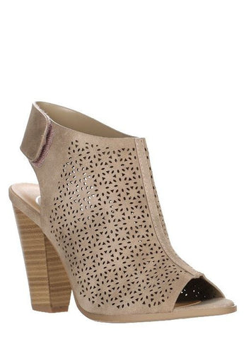 """Lania"" Peep-Toe Laser Cut Sling Backs in Taupe"