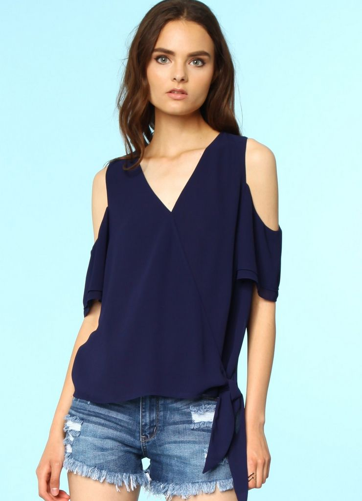 Cold Shoulder Surplice Tie Blouse in Navy