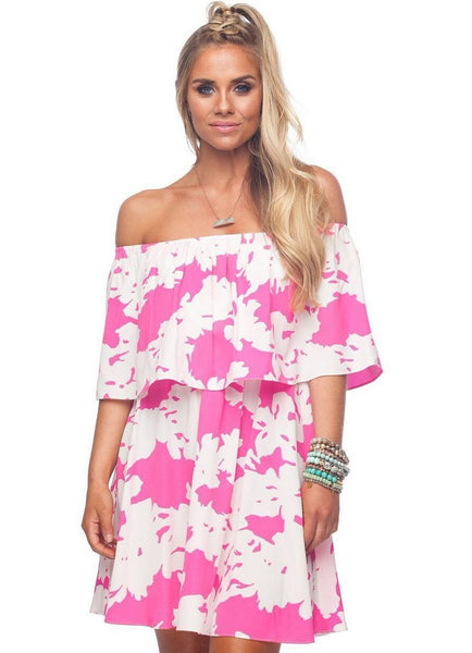 'Ever' Off The Shoulder Dress in Electric Print by Buddy Love