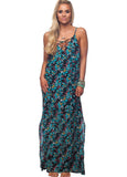 'Santos' Lace-Up Front Maxi Dress in Luau Print