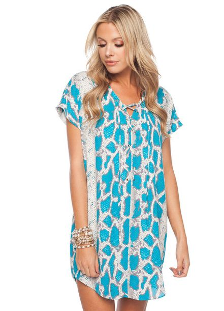 'Kris' Lace Up Front Dress in Azul Print by Buddy Love