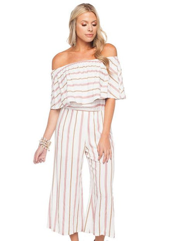 'Josephine' Off The Shoulder Jumpsuit in Pink Stripe by Buddy Love