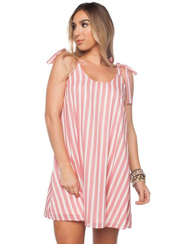 'Kerr' Tie Strap Dress in Pink Stripe Print by Buddy Love