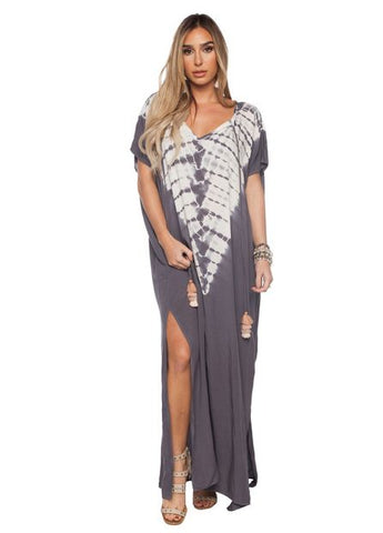 'Guava' Caftan Dress in Grey Print by Buddy Love