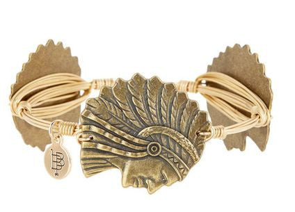 Bourbon and Boweties ™ Micanopy Indian Head (Antique Gold) on Gold Wire Bangle