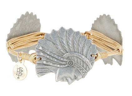 Bourbon and Boweties ™ Micanopy Indian Head (Pewter) on Gold Wire Bangle