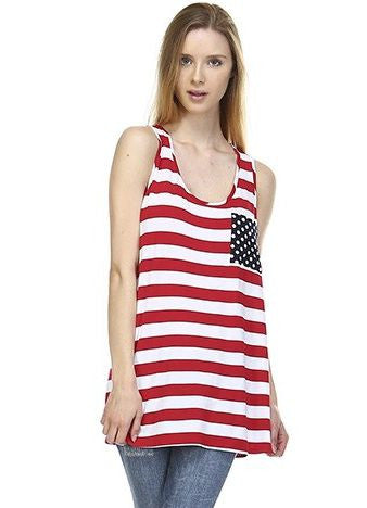 'Red And White Stripe' Bow Back Tunic Tank
