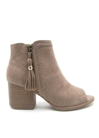 """Core-28"" Open-Toe Bootie with Fringe in Taupe"
