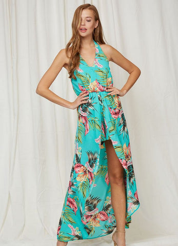 'Mala' Halter Romper/Maxi Dress