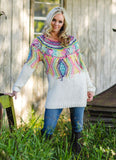 Cream Sweater Tunic/Mini Dress with Multi Color Embroidery