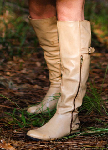 """Gear Up "" Beige Over The Knee Boot"
