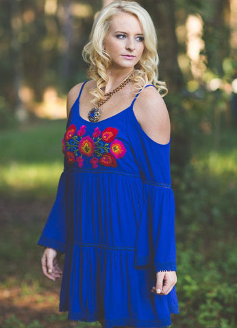 Judith March Royal Blue Cold Shoulder Embroidered Peasant Dress