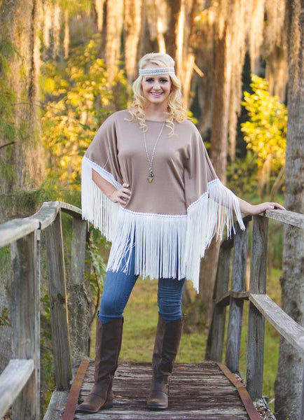 Taupe Poncho Top with White Fringe