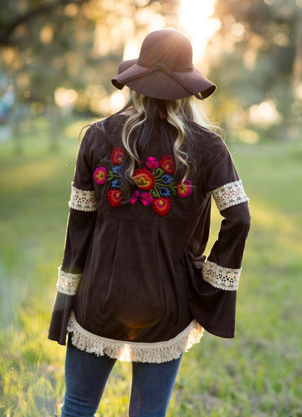 Judith March Faux Suede Embroidered Jacket with Fringe