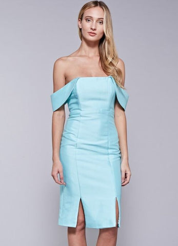 Aqua Off The Shoulder Front Slit Detailed Dress