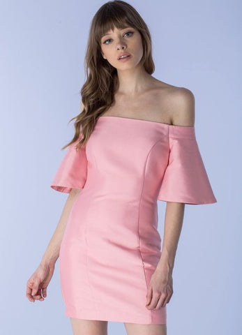 Bell Sleeve Off The Shoulder Peony Pink Dress
