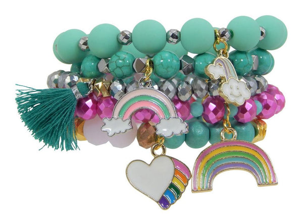 "Erimish Gem Jams ""Rainbow"" Kids Stretch Bracelets - Assorted Colors"