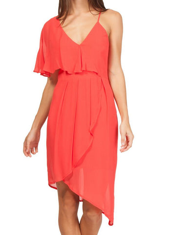 'Rita' Asymmetrical Sheath Dress in Spiced Coral