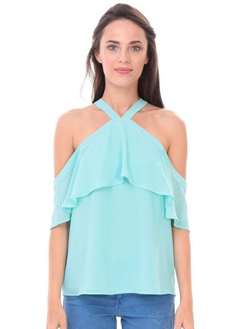 Cold Shoulder Cross Front Ruffle Top in Powder Sage