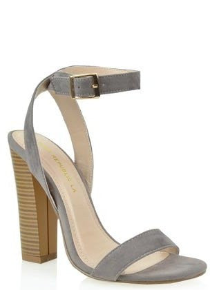 """Lille"" Ankle Strap Heels in Grey"