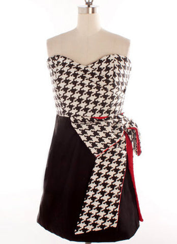 Judith March Black & White Houndstooth Sweetheart Strapless Dress with Red Accents