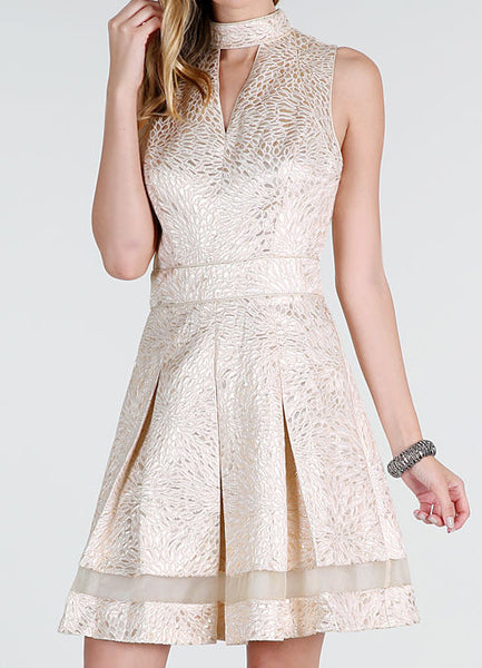 Light Gold Metallic Jacquard Fit and Flare Cocktail Dress