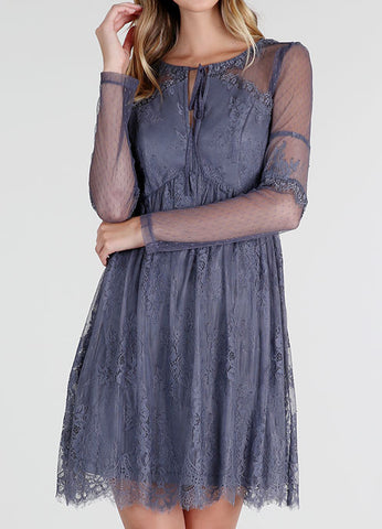 Charcoal Long Sleeve Lace Mix Dress