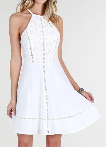 Lace Bodice Fit and Flare Cocktail Dress in White