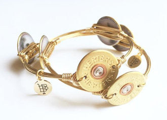 Bourbon and Boweties ™ Shotgun Shell (Authentic Gold) on Gold Wire Bangle
