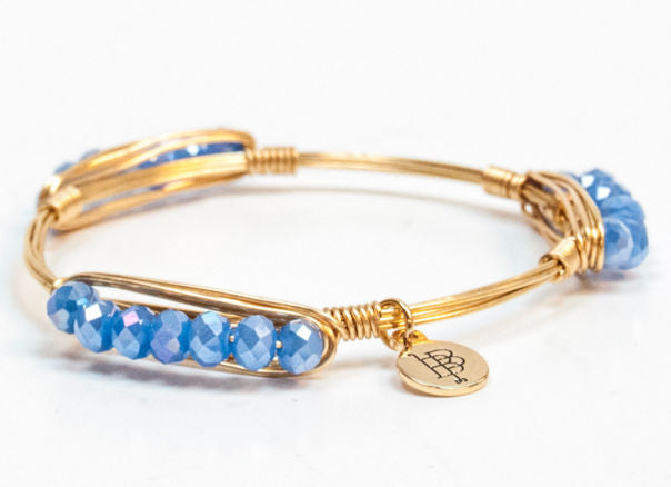 Bourbon and Boweties ™ Faceted Minis (Periwinkle) on Gold Wire Bangle