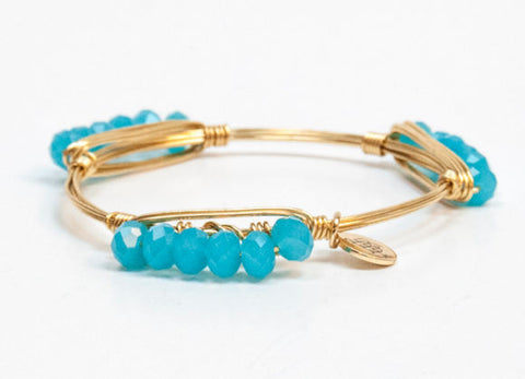 Bourbon and Boweties ™ Faceted Minis (Turquoise) on Gold Wire Bangle