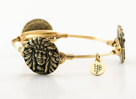Bourbon and Boweties ™ Indian Head (Antique Gold) on Gold Wire Bangle