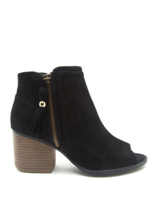 """Core-28"" Open-Toe Bootie with Fringe in Black"