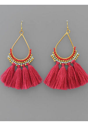 Teardrop Bead & Tassel Earrings in Fuchsia/Multi/Gold