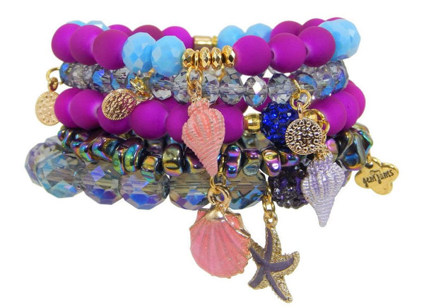 "Erimish Gem Jams ""Seashell"" Kids Stretch Bracelets - Assorted Colors"