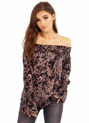 """Celeste"" Off The Shoulder Long Sleeve Blouse by Veronica M."