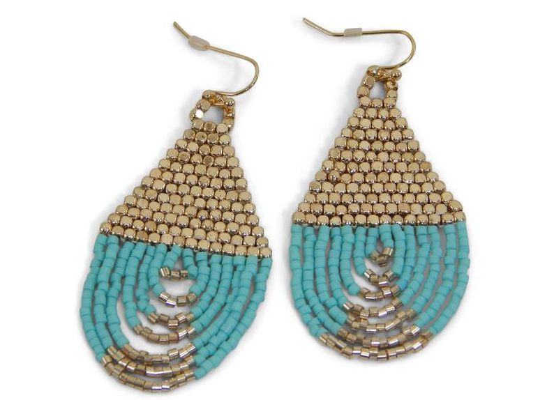 Turquoise Tassel Earrings by Erimish - B