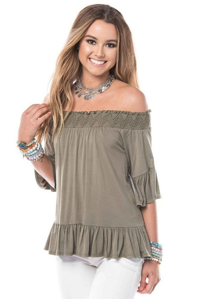 'Victoria' Off The Shoulder Top in Olive