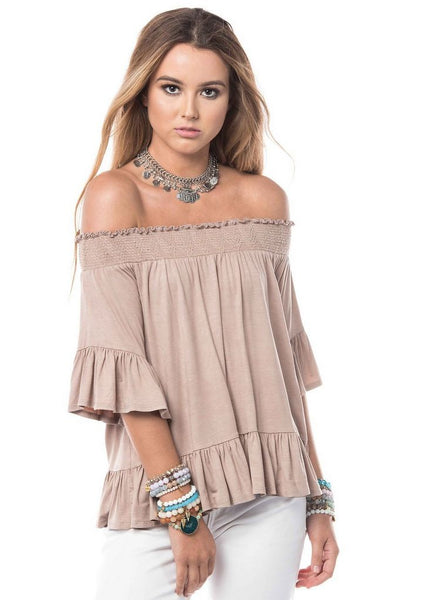 'Victoria' Off The Shoulder Top in Tan