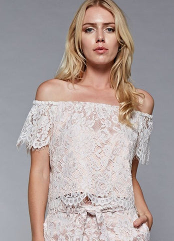 Lace Off The Shoulder Crop Top in White