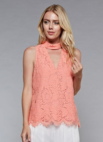 Coral Lace Sleeveless Keyhole Top