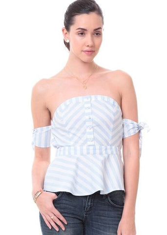 Blue and White Stripe Off The Shoulder Tie Sleeve Peplum Top