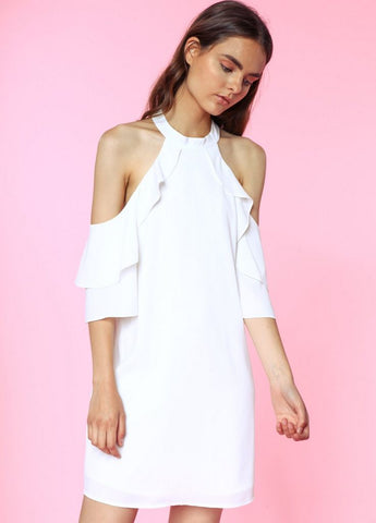 Cold Shoulder Cross Front Ruffle Dress in Off White