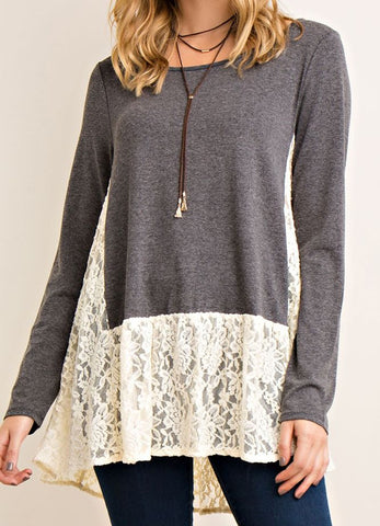 Scoop Neck Long Sleeve Top With Lace Accents in Charcoal