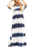 Cold Shoulder Tie Dye Ruffle Maxi Dress with Pockets in Navy
