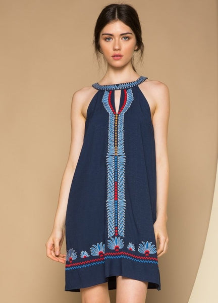 Embroidered Halter Sleeveless Dress in Navy