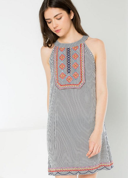 Embroidered Halter Shift Dress